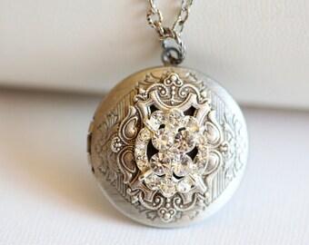 Locket, Silver Locket,Jewelry,Necklace,Pendant, Locket,Rhinestone  Locket,filigree locket necklac,Wedding Necklace,bridesmaid necklace