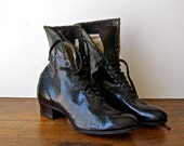 Antique High Top Lace Up Shoes Victorian Boots Antique Shoes Leather Boots