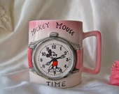 Vintage Mickey Mouse Time Cup Child's Cup Children's Mug Pink Cup Walt Disney Productions Vintage 1960s