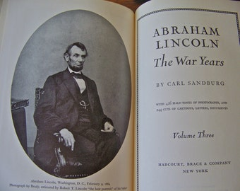 Vintage Book Collection Abraham Lincoln The War Years 1939 Hardcover Book Set of Four Carl Sandburg Abe Lincoln