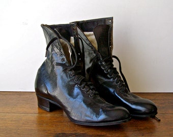 Vintage High Top Lace Up Shoes Victorian Boots Vintage Shoes Leather Boots Victorian Fashion Vintage 1920s