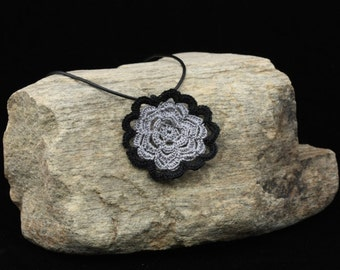 Grey and Black Flower Necklace