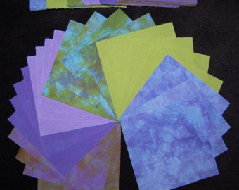 5 x 5 Inch Precut Quilt Squares, BLUPURPAVO, 66 Hand Dyed Charm Squares, Pre-Shrunk and Colorfast