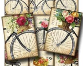 Antique Bicycle with Basket of Roses Digital Collage Sheet Instant Download Original Whimsical Altered Art by GalleryCat CS47