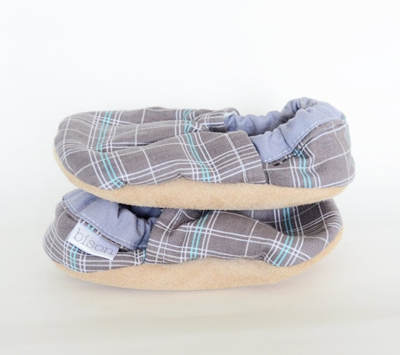 London Plaid Loafer Bison Booties Size 6 to 12 Months Baby Size 2-3
