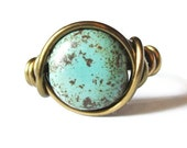 Boho Jewelry - Turquoise Ring, Wire Wrapped Antique Brass Ring