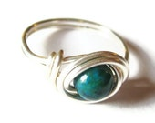Australian Sapphire Jasper Ring Wire Wrapped in Silver - Emerald Rings - Distorted Earth Jewelry