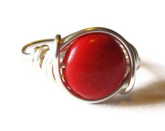 Large Gemstone Ring, Red Cocktail Ring, Wire Wrapped Jewelry