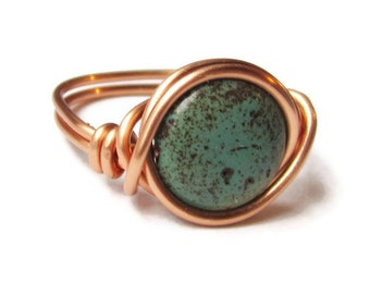 Green Turquoise Ring, Wire Wrapped in Copper - South Western Jewelry - Copper Rings
