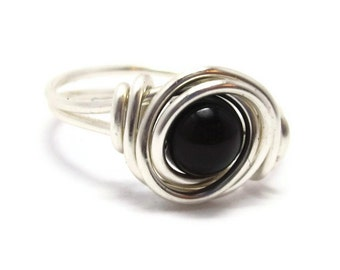 Silver Black onyx Ring, Wire Wrapped Jewelry