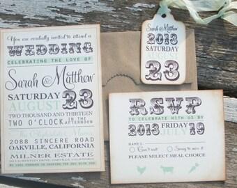 vintage wedding invitation -typography invitation - Sarah Collection-  SAMPLE