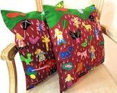 """Hand Applique Pillows, Vintage Cushion Covers, Primitive Hand Embroidery Folk Textile from Gujarat, India-16""""sq-Pair"""