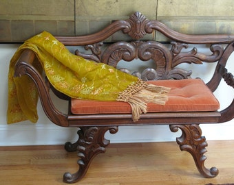 Silk Chiffon Shawl, Vintage, Yellow, with  Matching Silk Tassels Fringe by the Old Silk Route