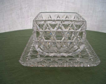 Vintage Cut Glass Serving Bowl and Under Plate Condiment Set Sawtooth Edge