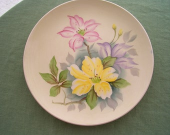 Vintage Decorative Plate Yellow and Pink Lilies