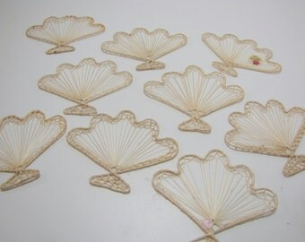 Set of 9 Abaca Unfinished Craft Fans