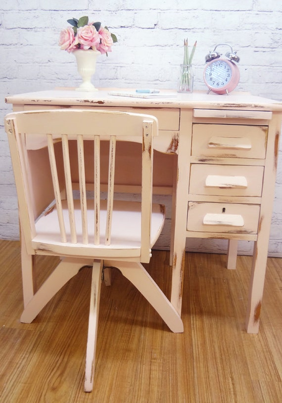 Shabby Chic Rustic Victorian Childrens Desk Hand Painted