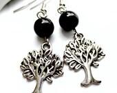 Trees of Life Beaded Silver Earrings