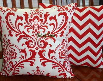 Decorative Pillows, Accent Pillows, Throw Pillows, Pillow Covers, Cushion Covers -  Red and White Chevron and Scroll - Two 18 Inch