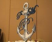 NAUTICAL, ANCHOR Cake Topper with MONOGRAM-Custom Listing for Erin