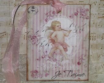 Valentine Gift Tag,  Je Taime Gift Tags Vintage French Market Style Original Design ECS