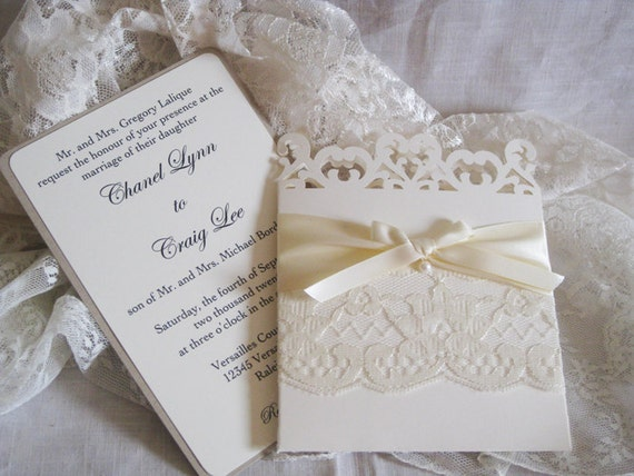 Cheap Shabby Chic Wedding Invitations: Lace Romance Wedding Invitations French Market Elegant
