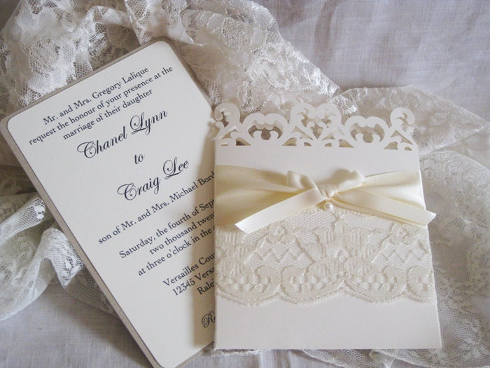 lace romance wedding invitations french market elegant,