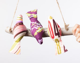 Threes a Crowd Bird Swing, Bird Mobile in Girly Stripes, Number and Floral Prints