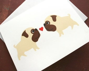 Valentine's Pug love card. Blank for own personal message.