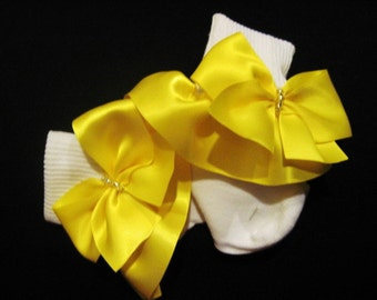 Ruffled Socks- Daffodil Yellow Infant, Toddler and Little Girl Satin , Perfect for Weddings, Flower Girl or Just Everyday Wear.