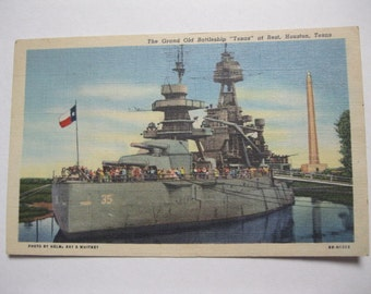 "US Navy War Ship Texas Vintage Linen Postcard Grand Old Battleship ""Texas"" in Houston Unused Historical WWI & WWII Battleship Collectible"