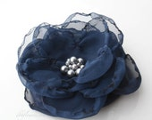 Navy Blue Fabric Flower can be used as a Hair Clip, Pin, Brooch or Headband