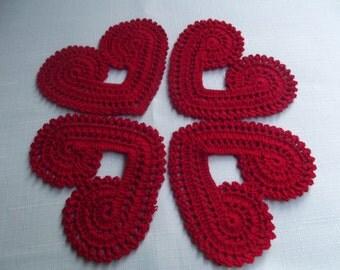 4 Pcs Handmade Heart Cotton Crochet Coaster... Kitchen Accesories...Cotton Crochet Pattern