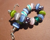 European Style Bead Bracelet, Blues, Greens and Pink