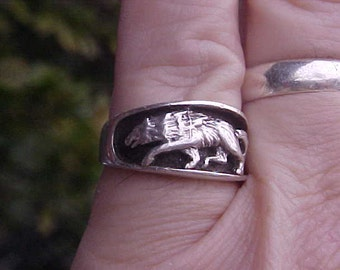 WOLF Ring RUNNING with the PACK in sterling silver band