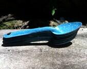 vintage blue enameled steel camping spoons/ set of 8