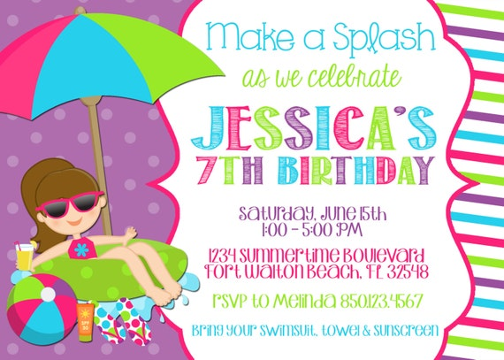 swimming pool 5x7 invitation girl birthday party printable