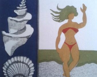 "Takeo Takei Original Color Woodcut ""Shell"""