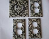 Black Damask Light Switch Plate / Black Off White Damask Double Light Switch Plate Cover Set / Damask Bedroom Decor/ Hollywood Regency Decor