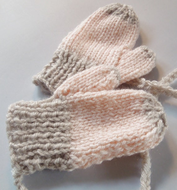 Knitting Pattern For Baby Mittens Without Thumb : baby mittens with thumbs and string knit in peach by JunesLoomsEtc