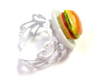 Delicious Hamburger Ring Miniature Food Polymer Clay