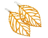 Mustard Yellow Filigree Leaves . Earrings . Large . Meadow Collection