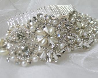 Bridal crystal pearl headpiece. Rhinestone applique wedding hair comb. DUCHESS PEARL