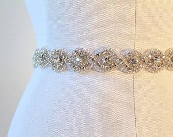 Bridal beaded infinity twisted crystal sash.  Rhinestone wedding belt.  JANE