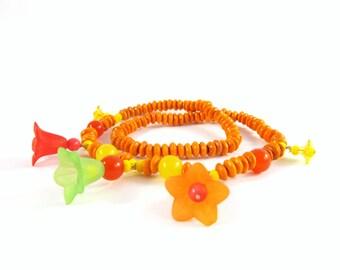 Orange Yellow flower stretch necklace