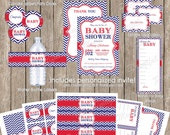 Boy baby shower invitation package, chevron baby shower invitation, navy and red, thank you, circles, food labels, and more, printable