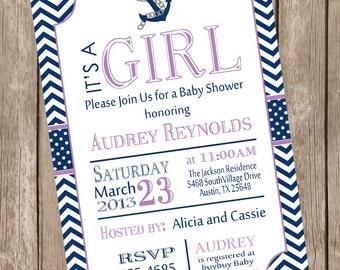 Girl nautical baby shower invitation,  navy and purple invitation, nautical, navy, purple, printable invitation