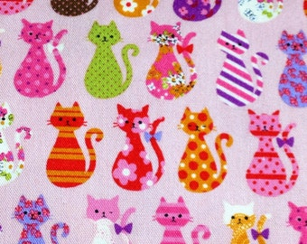 1M Japanese cotton fabric cat printed One yard