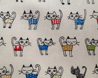 0.5m Japanese cotton fabric Cat printed hafl yard