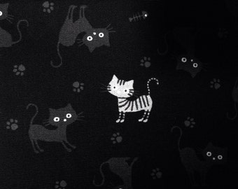 50cm Japanese cotton fabric Cat printed Half yard